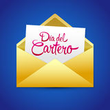 Dia del Cartero - Mailman day spanish text. National Thank A Mailman Day vector card - eps available Stock Image