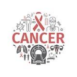 Dia do câncer Bandeira de Infographics Linha ícones ajustados Sinal do vetor para o gráfico da Web ilustração stock