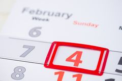 Dia do câncer do mundo 4 de fevereiro marca no calendário Imagem de Stock