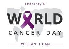 Dia do câncer do mundo, nós podemos mim podemos, bandeira dos cuidados médicos 4 de fevereiro Imagem de Stock