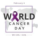 Dia do câncer do mundo, nós podemos mim podemos, bandeira dos cuidados médicos 4 de fevereiro Foto de Stock