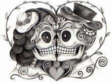Dia do casamento da arte do crânio dos mortos Fotos de Stock Royalty Free
