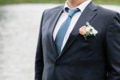 Dia do casamento Noivo na natureza summertime fotos de stock royalty free
