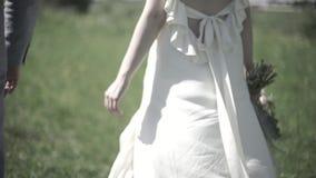 Dia do casamento O noivo guarda a mão do ` s da noiva, eles anda através das madeiras Ideia do close up das mãos da terra arrenda filme