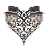 Dia do coração do crânio da arte dos mortos Fotografia de Stock
