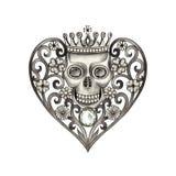 Dia do coração do crânio da arte dos mortos Imagem de Stock Royalty Free