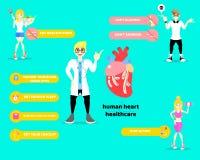 Dia do coração do mundo, diagrama do estilo de vida saudável e conceito infographic dos cuidados médicos do coração com o doutor  ilustração royalty free