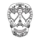 Dia do crânio colorido inoperante com ornamento ilustração royalty free