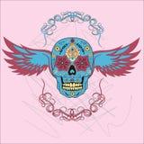 Dia do crânio colorido inoperante com ornamento floral e asas Imagem de Stock Royalty Free