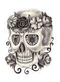 Dia do crânio da arte dos mortos Imagens de Stock