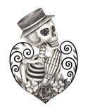 Dia do crânio da arte dos mortos Fotos de Stock Royalty Free