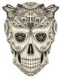Dia do crânio da arte dos mortos ilustração do vetor