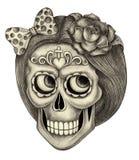 Dia do crânio da arte dos mortos Foto de Stock