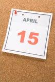 Dia do imposto do calendário Fotografia de Stock