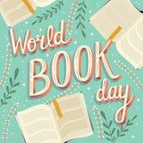 Dia do livro do mundo, mão que rotula o projeto moderno do cartaz da tipografia com livros abertos fotos de stock royalty free