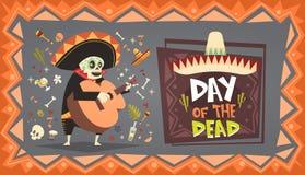 Dia do mexicano tradicional inoperante Dia das Bruxas Dia De Los Muertos Holiday Party Imagem de Stock