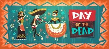 Dia do mexicano tradicional inoperante Dia das Bruxas Dia De Los Muertos Holiday Party ilustração do vetor