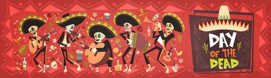 Dia do mexicano tradicional inoperante Dia das Bruxas Dia De Los Muertos Holiday Party ilustração royalty free