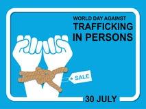 Dia do mundo contra o tráfico nas pessoas ilustração stock