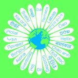 Dia do mundo olá! O conceito da campanha para a paz A flor da margarida o meio é a terra do planeta Nas pétalas - o inferno da pa ilustração royalty free