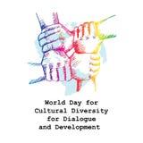 Dia do mundo para a diversidade cultural para o di?logo e o desenvolvimento ilustração royalty free