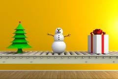 Dia do Natal e de ano novo, presente do Natal na linha do transporte isolada no fundo amarelo foto de stock