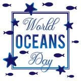 Dia do oceano do mundo Vector a ilustração para o feriado no tema do mar Fotografia de Stock
