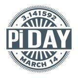 Dia do pi, o 14 de março, ilustração stock