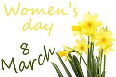 Dia do ` s das mulheres - flores com palavra o 8 de março Imagem de Stock
