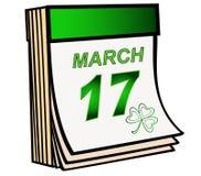 Dia do ` s de Patrick O calendário verde do rasgo-fora está aberto o 17 de março, o festival irlandês do dia de St Patrick fotos de stock royalty free
