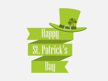 Dia do ` s de StPatrick Fita com o chapéu do texto e do duende Bandeira festiva Vetor ilustração do vetor