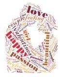 Dia do `s do Valentim Eu te amo Pares Loving Coração Ilustração nas palavras Foto de Stock