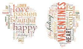 Dia do `s do Valentim Eu te amo Pares Loving Coração Ilustração nas palavras Imagem de Stock