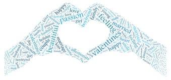 Dia do `s do Valentim Eu te amo Pares Loving Coração Ilustração nas palavras Fotos de Stock