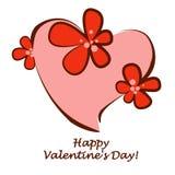 Dia do `s do Valentim Coração nas flores Ilustração isolada do vetor imagens de stock