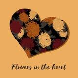 Dia do `s do Valentim Flores no coração Cartão com teste padrão floral Ilustração no estilo do vintage Declaração do amor Invi fotos de stock royalty free