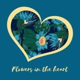 Dia do `s do Valentim Flores no coração Cartão com teste padrão floral Ilustração no estilo do vintage Declaração do amor Invi imagem de stock