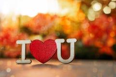 Dia do `s do Valentim fundo do bokeh da inscrição eu te amo imagem de stock