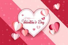 Dia do `s do Valentim O fundo e o papel de parede bonitos com corte forram o efeito Presente do cartão, cartaz do elemento, invit fotografia de stock