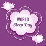 Dia do sono do mundo Os carneiros das nuvens voam com seus olhos fechados Espaço para o texto Fotos de Stock Royalty Free