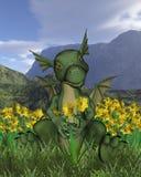 Dia do St David - dragão e daffodils do bebê Imagem de Stock Royalty Free