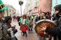 Dia do St. Patrick em Moscovo Imagens de Stock
