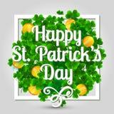 Dia do St Patrick feliz Cartão com beira Foto de Stock