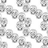 Dia do teste padrão inoperante de Sugar Skull Seamless Foto de Stock Royalty Free