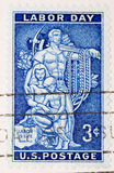 Dia do Trabalhador do selo de porte postal dos E.U. do vintage 1956 fotos de stock