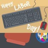 Dia do Trabalhador feliz, com uma tabela, um teclado, um rato e um escaninho Vista da parte superior ilustração do vetor