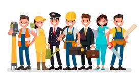 Dia do Trabalhador Um grupo de pessoas de profissões diferentes em um branco Imagem de Stock