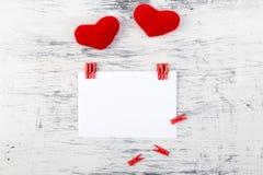 Dia do Valentim Cartão com espaço vazio perto dos corações Foto de Stock Royalty Free