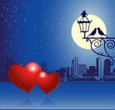 Dia do Valentim, cena urbana, par Fotografia de Stock