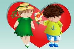 Dia do Valentim feliz Cartão do amor O menino dá à menina um ramalhete no fundo do coração Declaração do amor, proposta a casar-s foto de stock